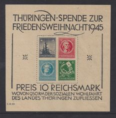 GDR of East Germany 1945 - Allied Occupation/Soviet Union - Thuringen - Michel Block 2v