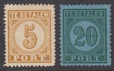 Dutch East Indies 1874 - postage due, large value number - NVPH P1A and P4C