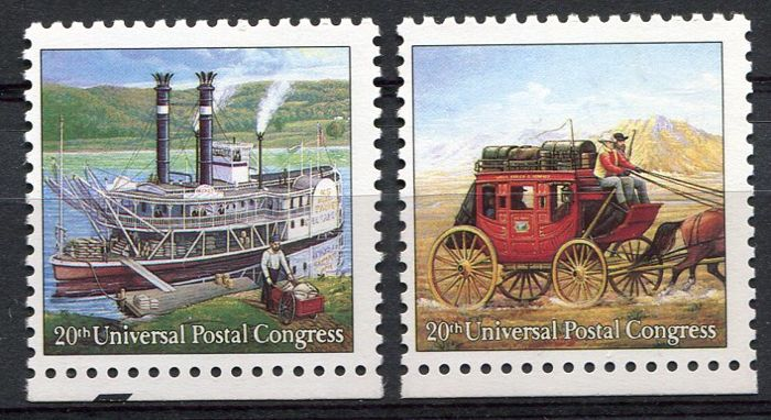 USA  1989 - 25¢ Universal Postal Congress, error printing - Scott 2434/35 without indication of value (25C) and country (USA)