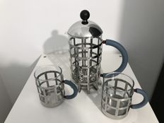 Michael Graves for Alessi - coffee percolator with 2 coffee mugs
