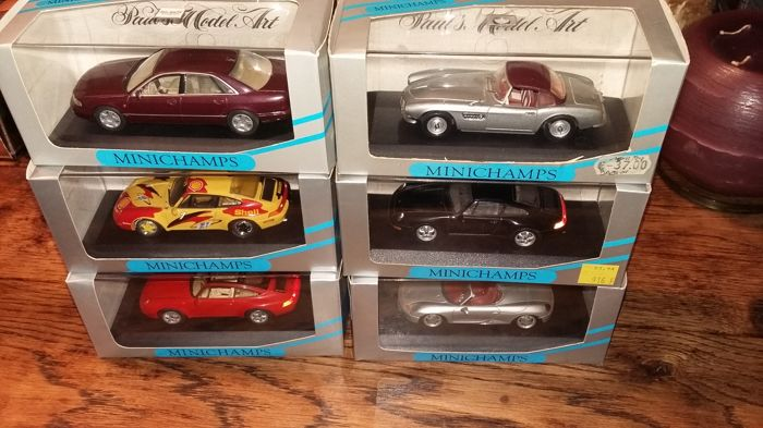 Minichamps - Scale 1/43 - Lot of 6 models:  4 Porsche, 1 Audi V8 & 1 Mercedes-Benz