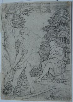 Heinrich Aldegrever (1502-1555) - Adam and Eve at Work, The Story of Adam and Eve