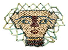 Ancient Egyptian Beaded Mummy Face Death Mask - 140x109mm