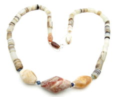 Ancient Parthian Agate Stone Beaded Necklace - 580 mm