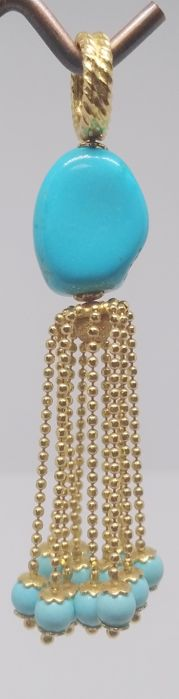 18 kt yellow gold pendant, turquoise stones, length 6 cm