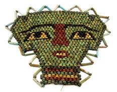 Ancient Egyptian Beaded Mummy Face Death Mask - 145x108mm