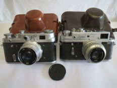 "Rare model ""FED-3""(Humpbacked) with a drumless (drum) platoon 1961-1965. + ""Zorki-4""."