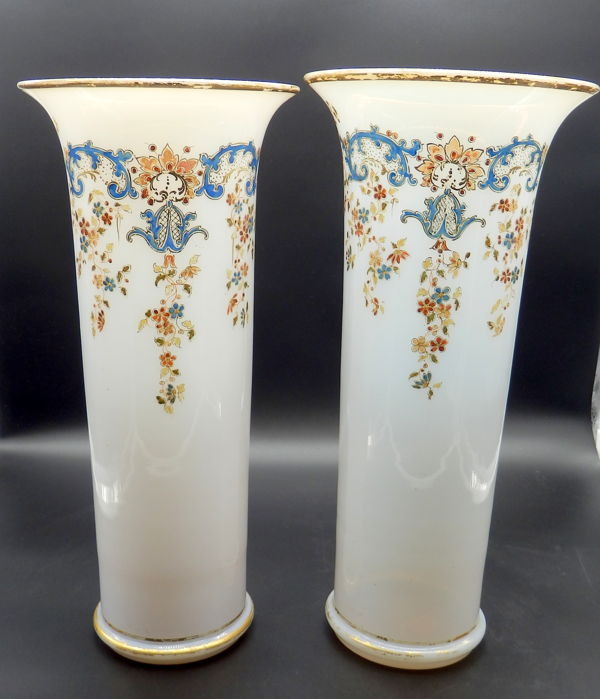 Two large Opaline Glass vases, Frans, 19th century