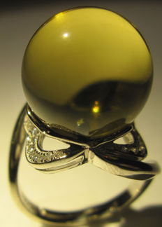 14 mm Dominican blue amber ring, incl. Association of Amber Museum, A L.,S.D. certificate.