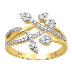 14Kt. yellow gold fashion ring set with diamonds 0.509 ct. , GH colour and P1 clarity , size K/50