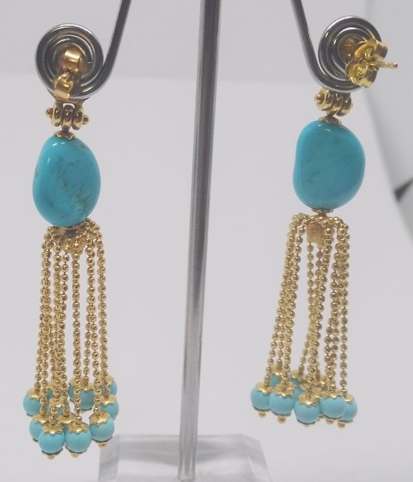 18 kt yellow gold earrings with turquoise stones - length 6 cm