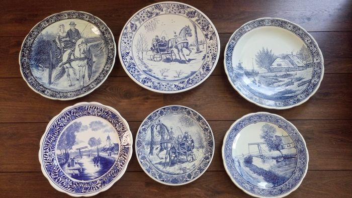 6 Large Delft blue wall plates