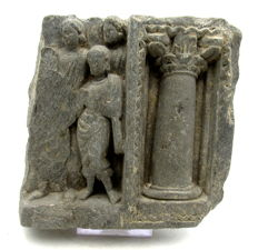 Ancient Gandhara Stone Statue of 3 Attendants of Buddha & Column - 115mm