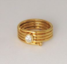Wide-band ring in 18 kt yellow gold - diamond - unisex - 100% handmade