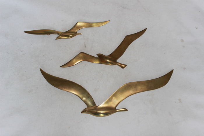 Three abstract brass design birds as wall decoration - 2nd half of the 20th century