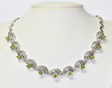 Exclusive Peridot and Diamonds necklace NO RESERVE price!