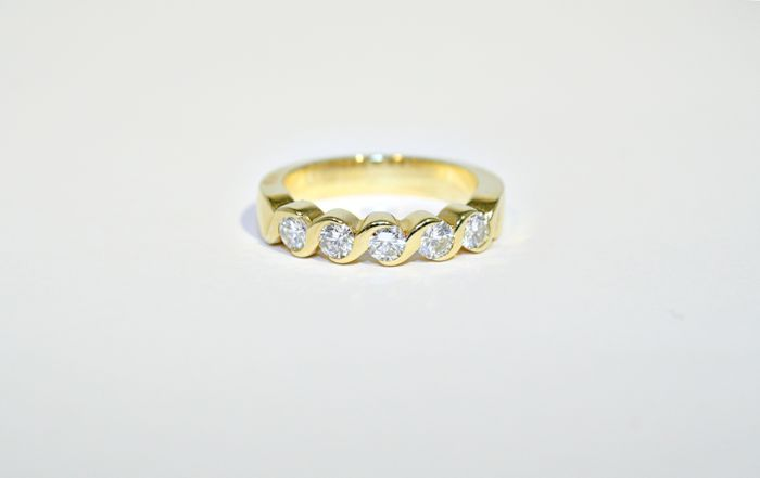 Braid made 5 diamonds ring, 0.50 ct total, °°no reserve°°