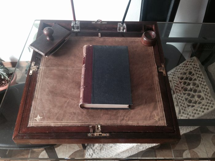 Rosewood travel desk - antique writing box with inkwell and pen - ca. 1850