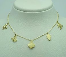 14 ct yellow gold Charm Necklace,Chain Length 42cm,Charms 1 cm,Total Weight 2.68g