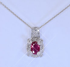 1.15 Ct Ruby with Diamonds, necklace ***NO RESERVE price***