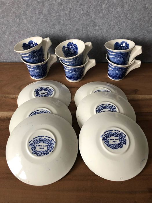 Royal Staffordshire, Pottery  6 cups and saucers by Jenny Lind  full handle cups