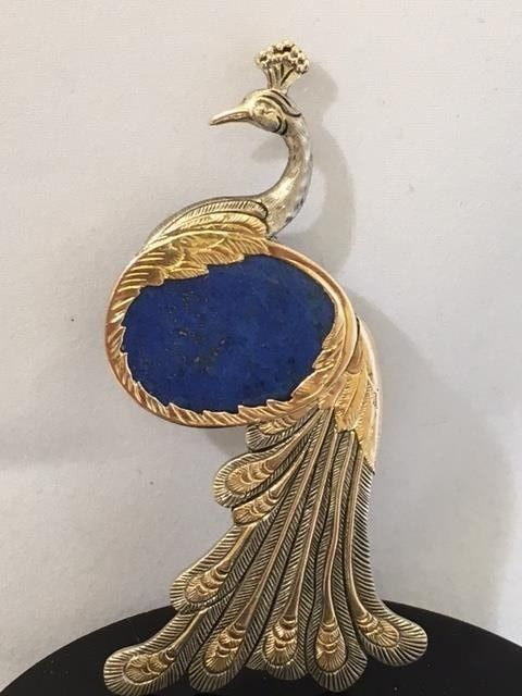 925 Silver peacock in Art Nouveau style with gold feathers and lapis lazuli - height 7 cm