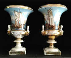 Pair of porcelain craters, Paris, France, 19th century