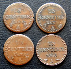 France - 1 Céntime year 6-A, year 7-A, year 8-A & 1848-A (4 coins) - bronze