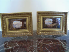 Two polychrome ceramic views of neapolitan landscapes, framed