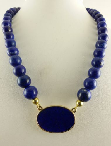 Lapis lazuli bead necklace/collier - 585 yellow gold - 61 cm