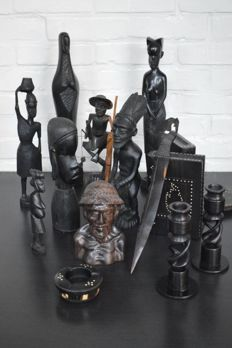 Collection of 14 Ebony carvings