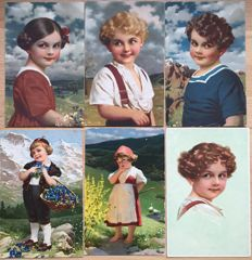 Lot with 500 postcards with children all in small format - very nice collection - Batch with 500 cards children