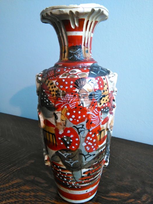Hand Decorated Japanese Ceramic Vase Japan Mid 20th Century