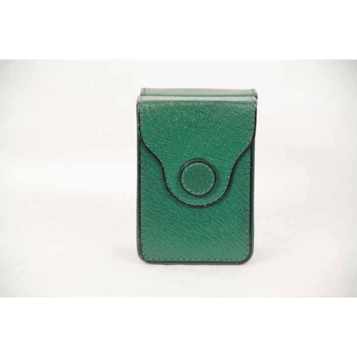 Gucci - Vintage Green Leather Playing Cards Double Decks Holder ... 793764472b78