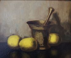 Pieter van Noort - Nic. Bruijnesteijn (1893-1950) - Still life with mortar and lemons