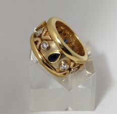 Band ring in 18 kt yellow gold - 1.15 ct sapphires - 0.38 ct diamonds