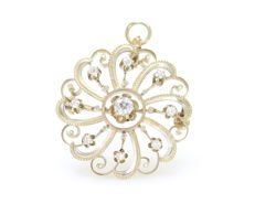 0.50 Ct diamond sun broche -  **NO Reserveprice**