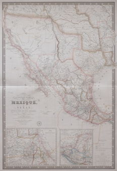 Amerika, Texas, Californie, Mexico; Adrien Hubert Brue - Nouvelle Carte du Mexique, du Texas - 1840