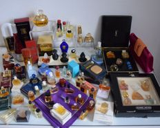 Big batch of special French perfumery articles, YSL Champagne + boxes, 100ml bottles, Dali, Cacharel, Le Galion, Patou, Guerlain etc