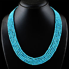 Turquoise necklace with 18 kt (750/1000) gold clasp, length 50cm