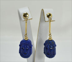 18 kt gold earrings with lapiz lazuli mask, 15 x 21 mm