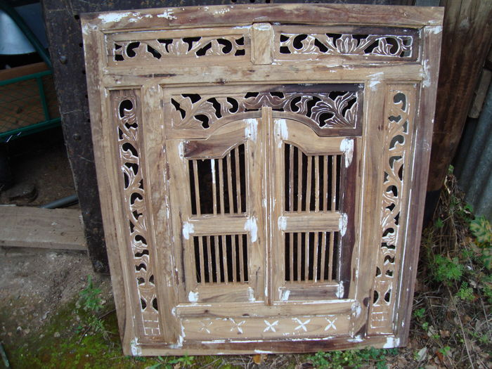Oriental Furniture Front Or Shutters Blonde Mahogany Polychrome