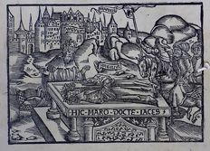 Master of Gruninger: Woodcut & Printed Device - The Death of Virgil & Device Off. Lucaeantonii - 1536