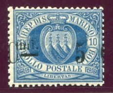 San Marino, 1892 – 5 cent. on 10 cent. Overprint – Sassone  No.  8.