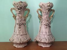 Pair vases Royal Dux Bohemia - 52 cm