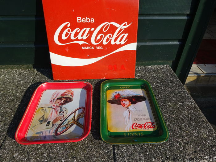 3 advertising signs metal / tin - Coca Cola - ca. 1970 / 1980