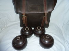 Crown Green Bowls With Measure In A Case