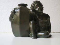 Just Andersen - Art Deco figural vase with a seated boy and geckos