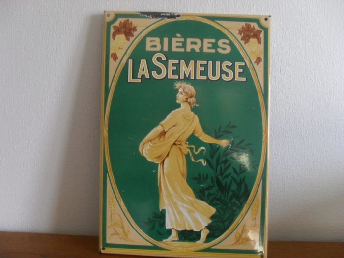 Old enamel sign for Bières la Semeuse - 1970s
