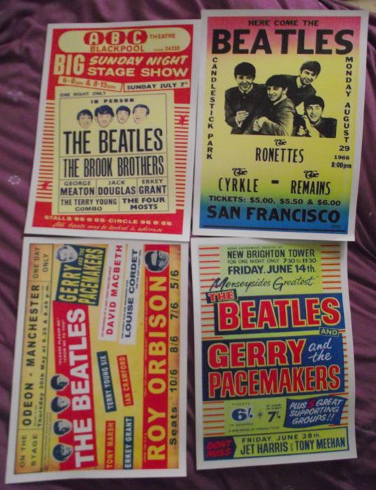 Four very cool Beatles concert posters( reproduction ). Size A3